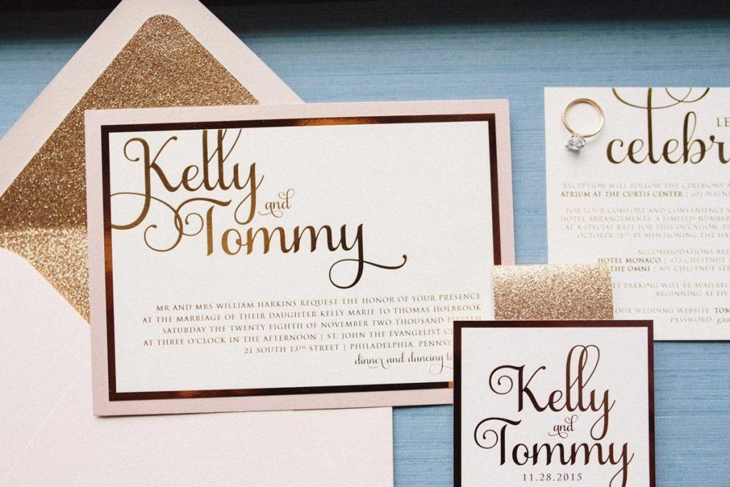 gold glitter invitation suite