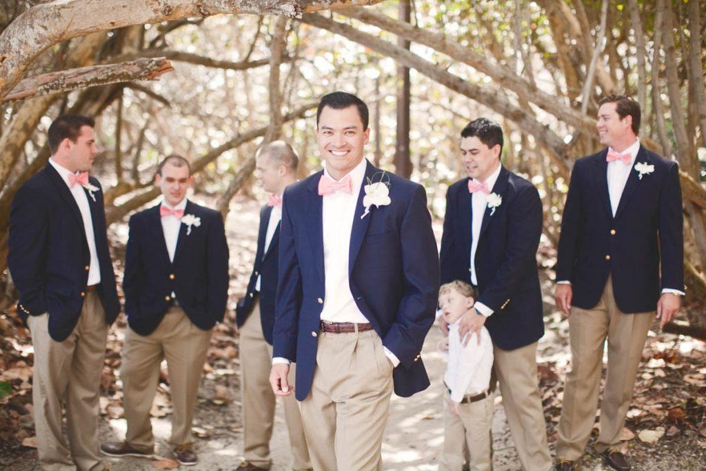 groomsmen navy blazer pink bowtie