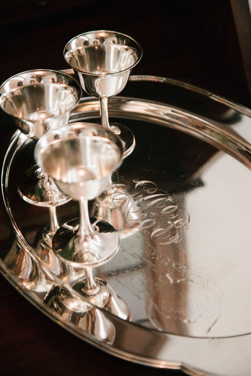 monogrammed silver platter