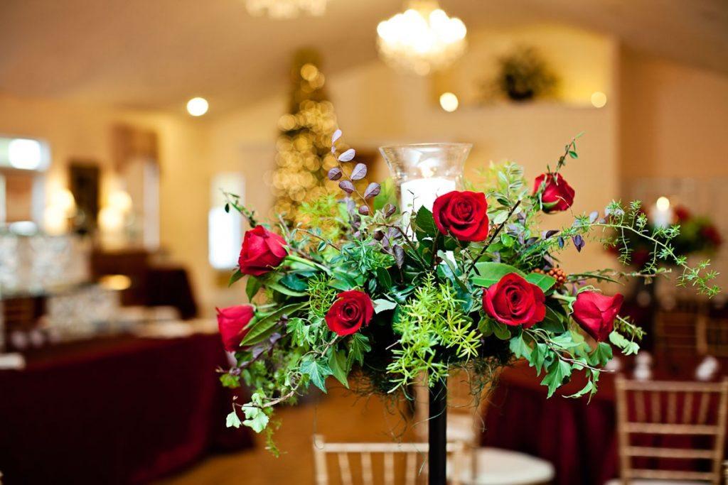 reception centerpiece red rose