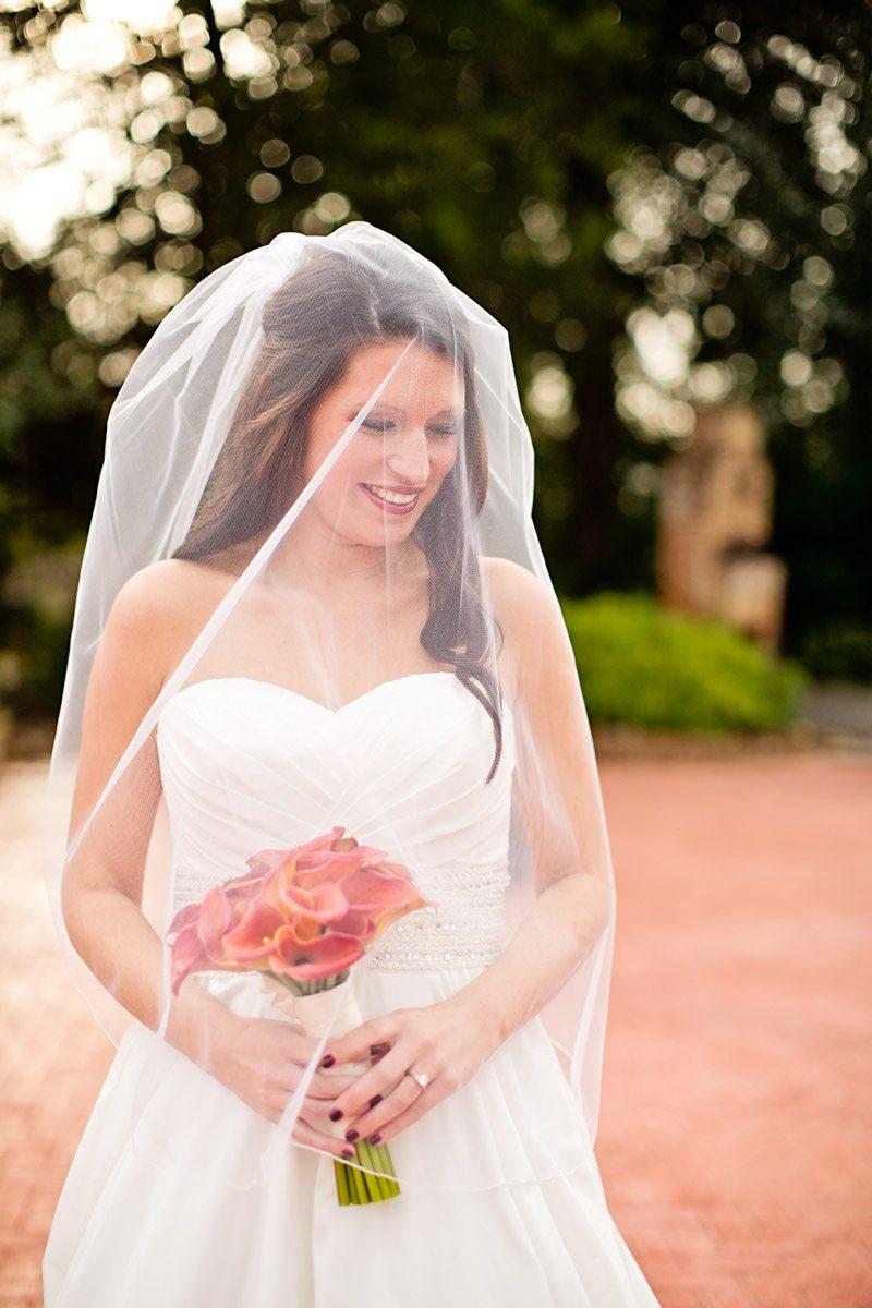 veiled wedding dress portrait