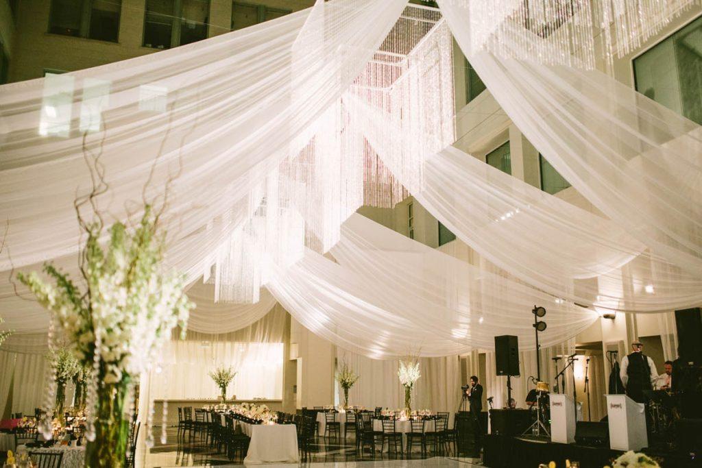 white drapery reception