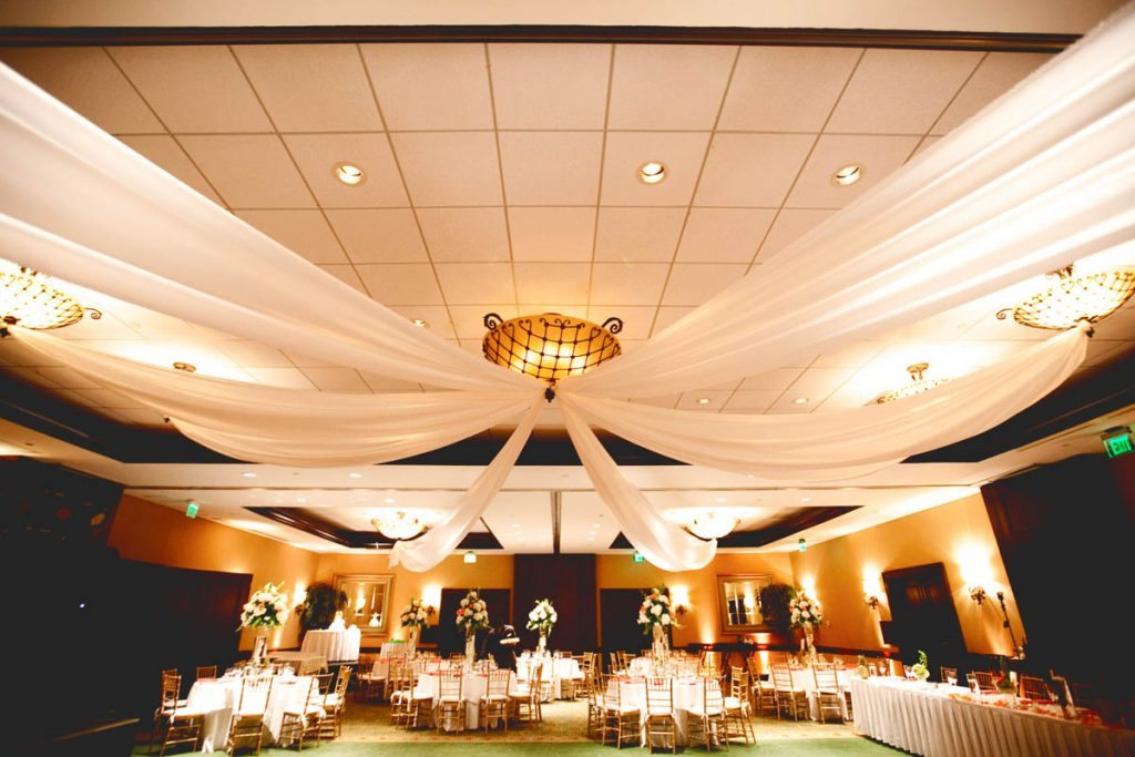 white draping reception