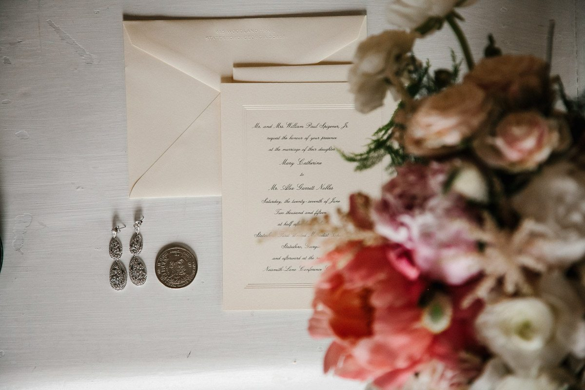 Black and White Simple Invites with Pink Flowers