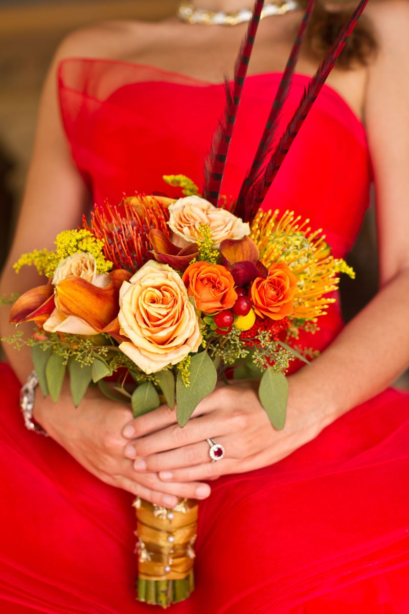 -Bouquet with orange flowers and red ring Russell_Teimouri_Cat_Melnyk_Photography_IMG51222