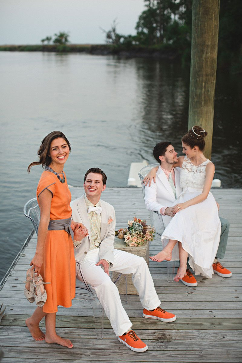 Bridal Party on Dock - Izzy Hudgins Photography
