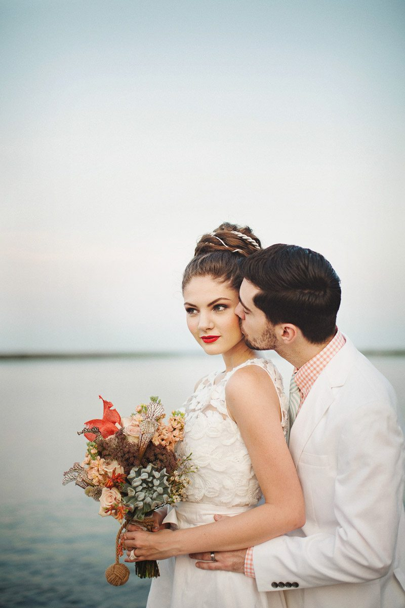 Bride and Groom Waterfront Backdrop - Izzy Hudgins Photography