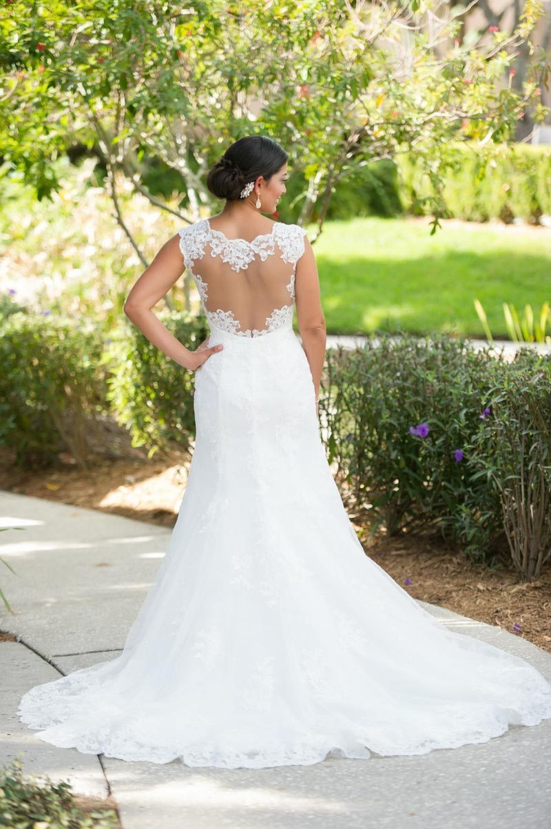 Bride in Gown Lace Sheer Back