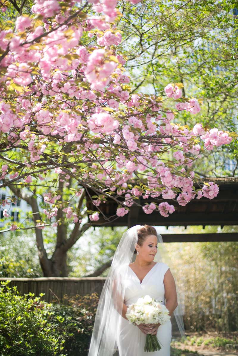Bride in Gown with White Bouquet Under Pink Flower Tree