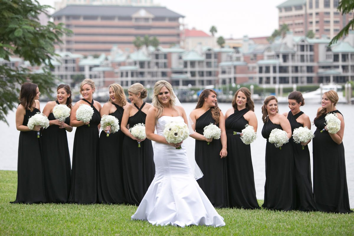 Bride in middle featuered black bridesmaid dresses behind Wilcox_Soplinski_Carrie_Wildes_Photography_CWP0286