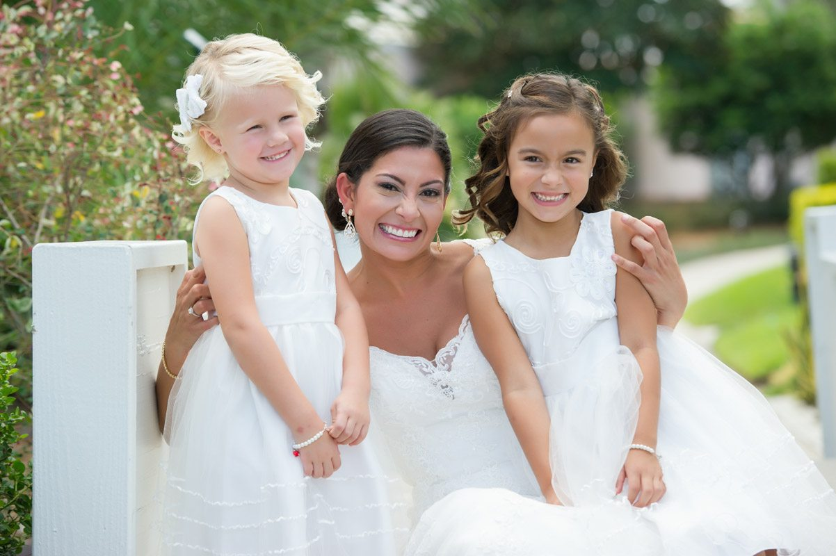 Bride with Little Girls in White