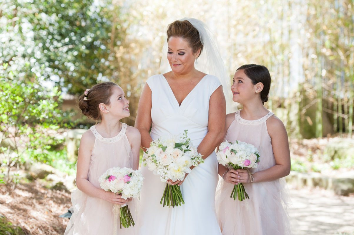 Bride with Two Little Girls in Wedding Party