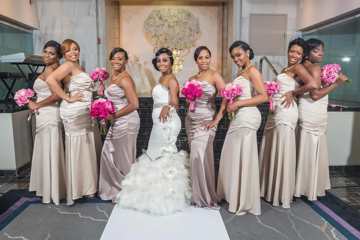 Bridesmaids with Pink Bouquets