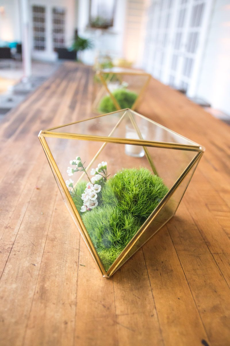 Centerpiece Triangle with Grass and Small White Flowers