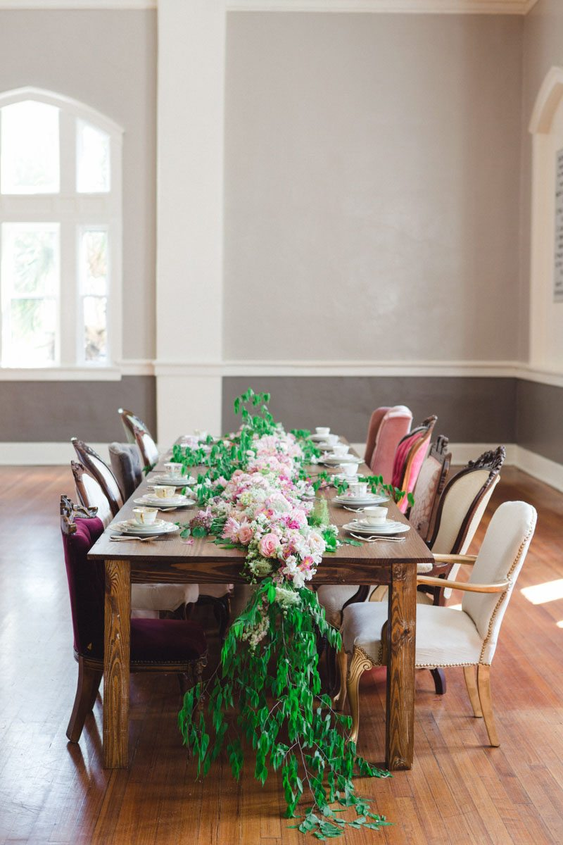 Dark Wood Table Wood Floor Pink Flowers