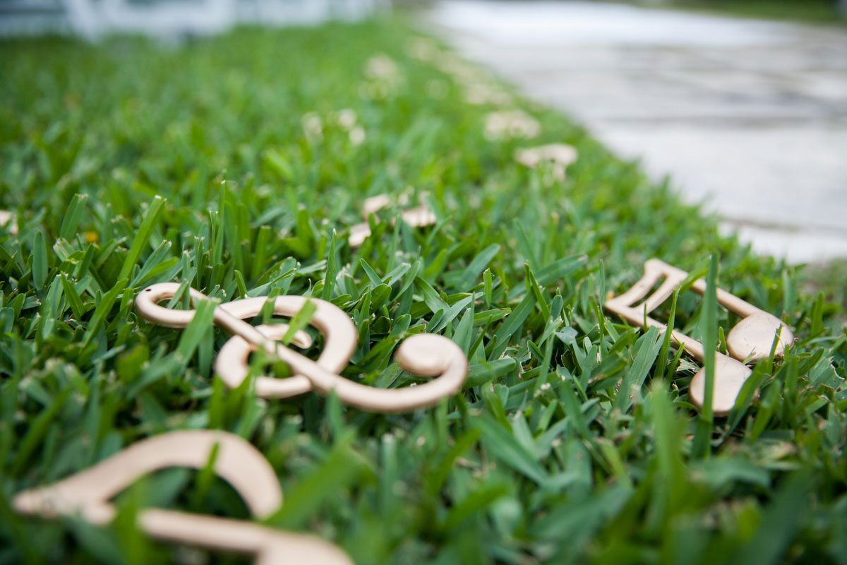 Gold Music Notes in Grass