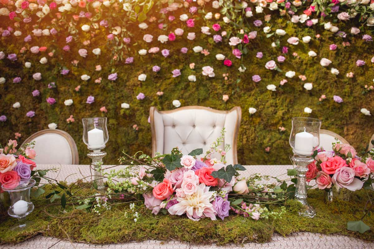 Grass and Pink Purple White Flower Centerpieces with Candles