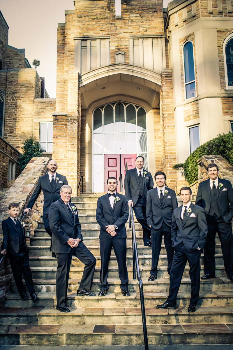 Groom and groomman outsid on stairs in front of museum venue Townsend_Coffee_Janet_Howard_Studio_Coffee0504