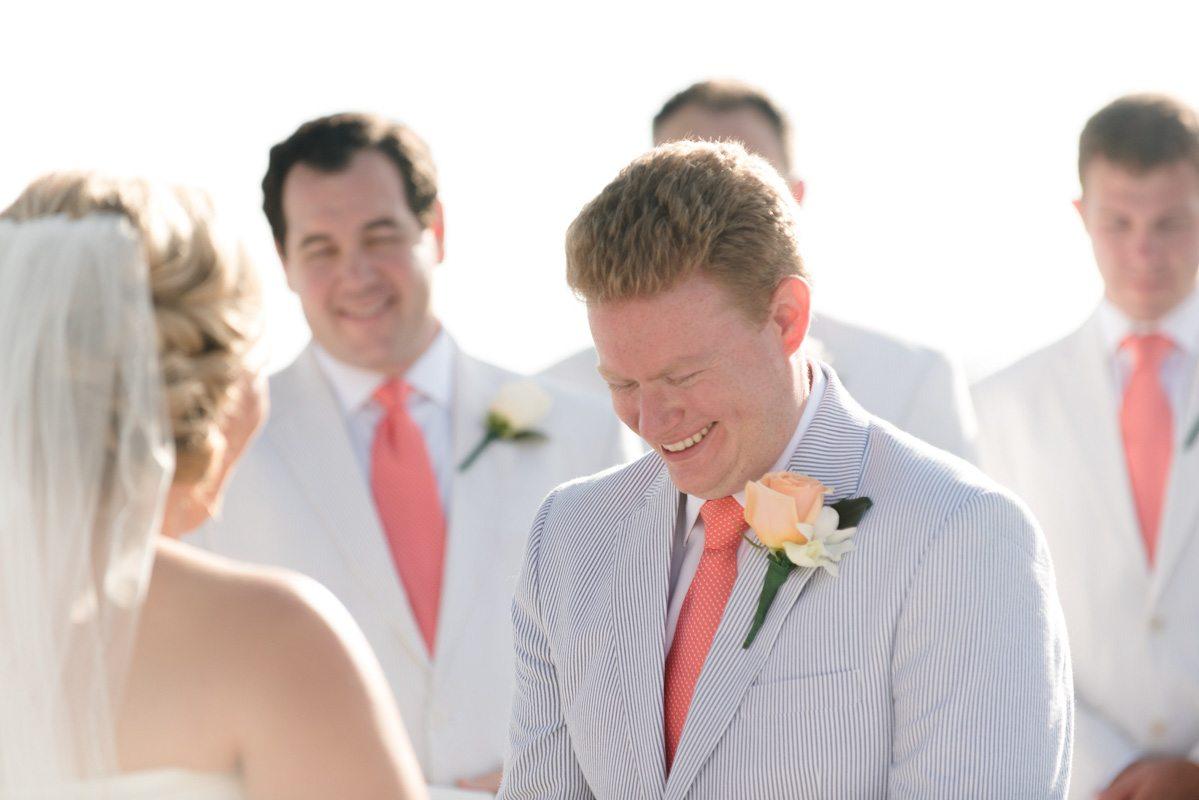 Groom seeing his bride at the altar Pearl_Warnock_Caroline__Evan_Photography_MichaelaChrisWedding1036