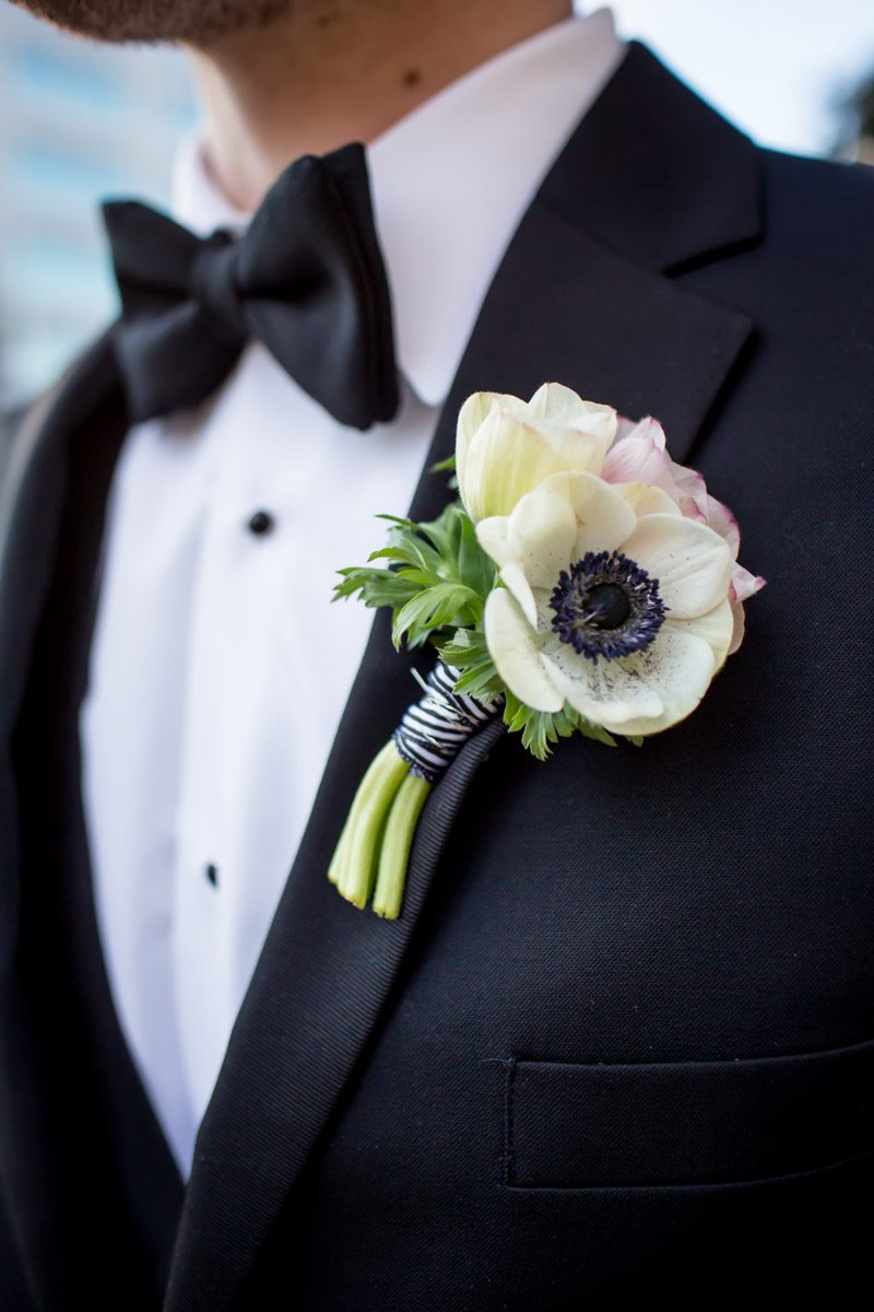 Groom's white anemone boutonniere Townsend_Coffee_Janet_Howard_Studio_Coffee0444