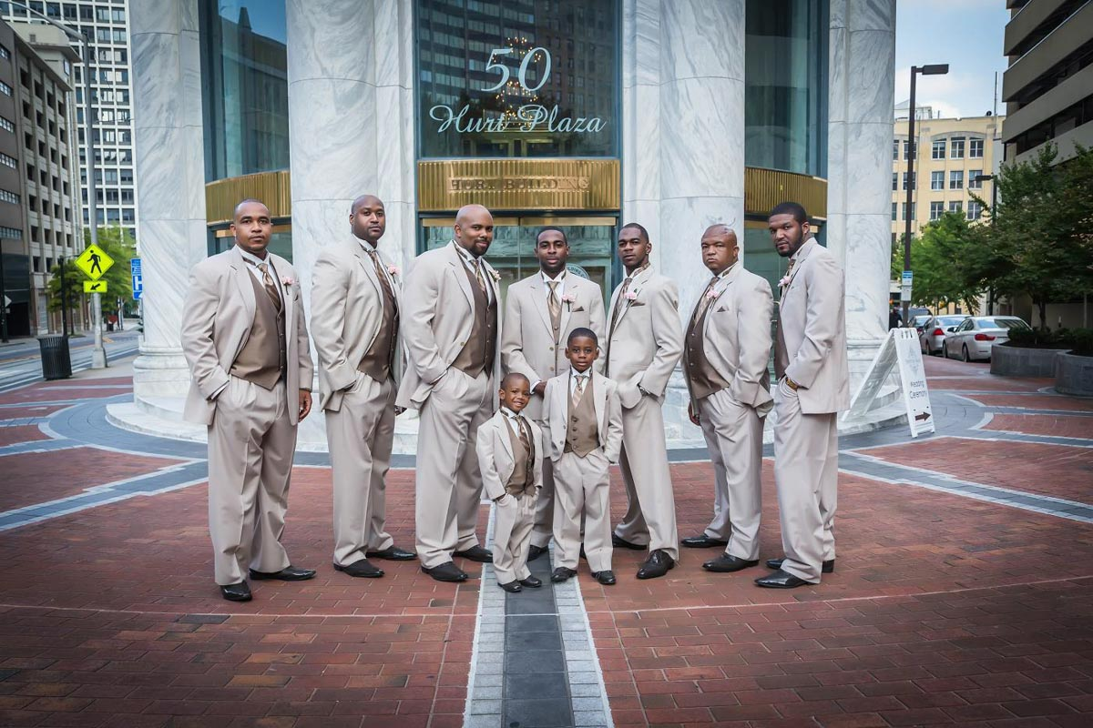 Groomsmen in Champagne Colored Suits