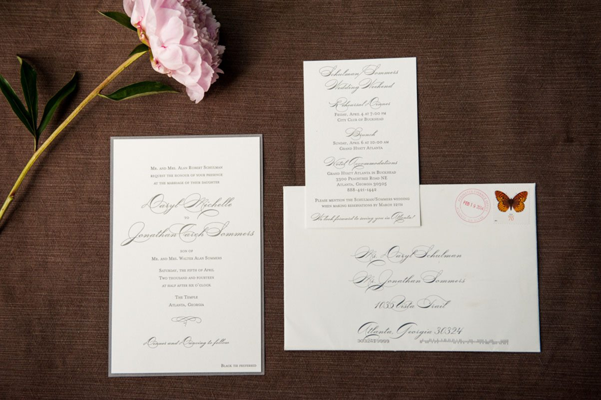 Invites Dark Grey and White with Pink Flower