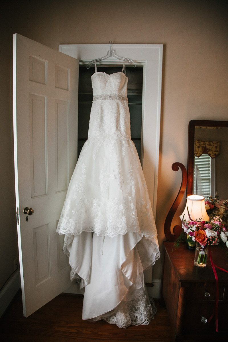 Lace White Wedding Dress Hanging
