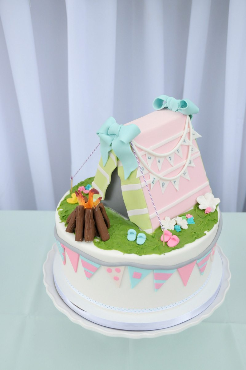Pink White Green Camp Fire Birthday Cake
