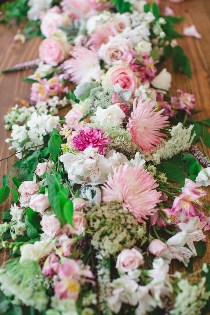 Pink White Green Floral Centerpiece