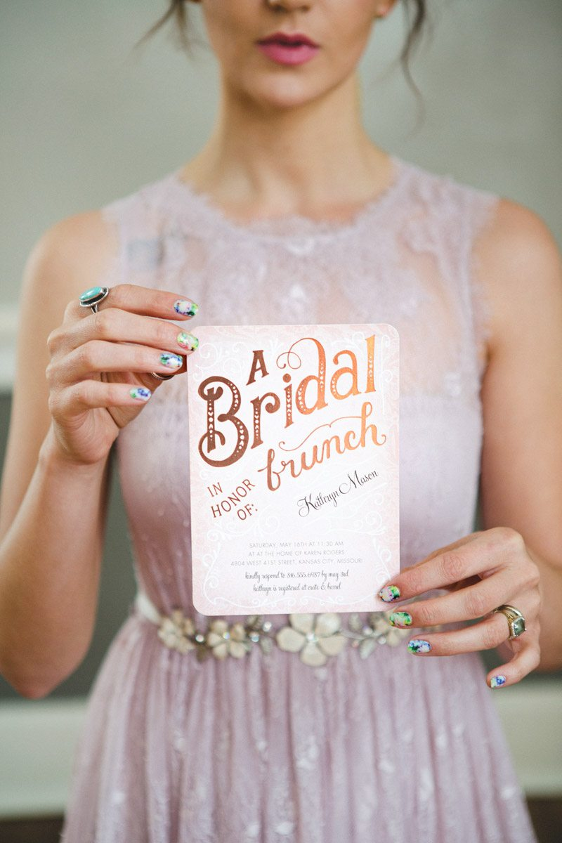 Purple Pink Brunch Invite Floral Nails