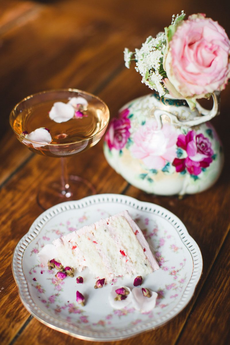 Slice of Cake Pink China and Flowers