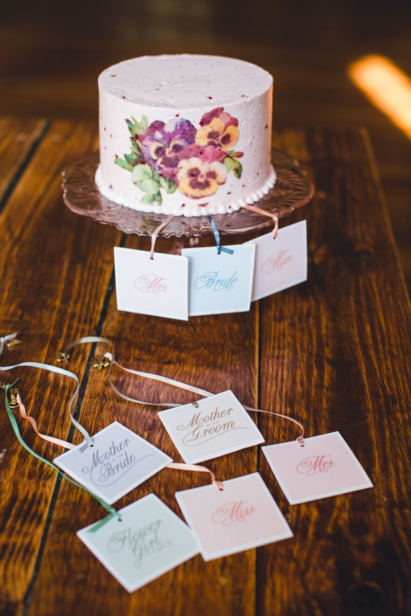 Small Pink Cake with Flower Design and Placecards