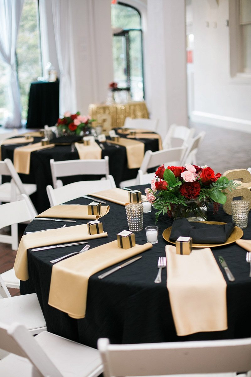 Table settings & Lovely Black and Gold Wedding at Callanwolde Fine Arts Center in ...