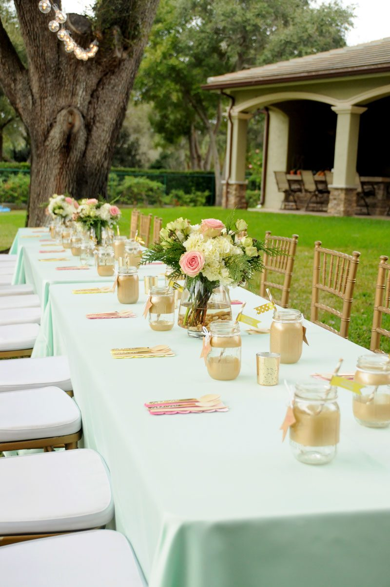 Table with Mint Linen Pink and White Flowers Mason Jars