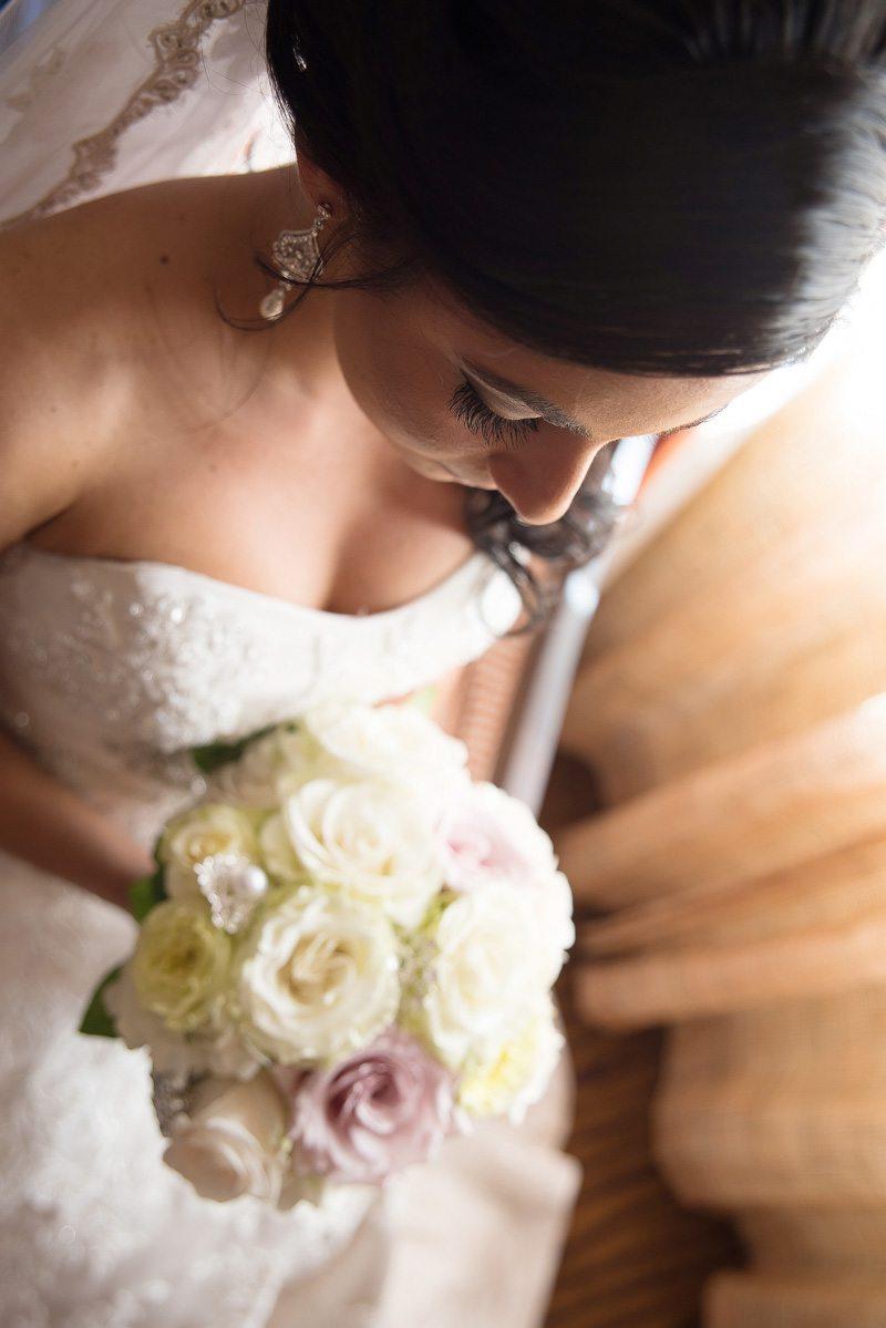 Up close bride and bouquet
