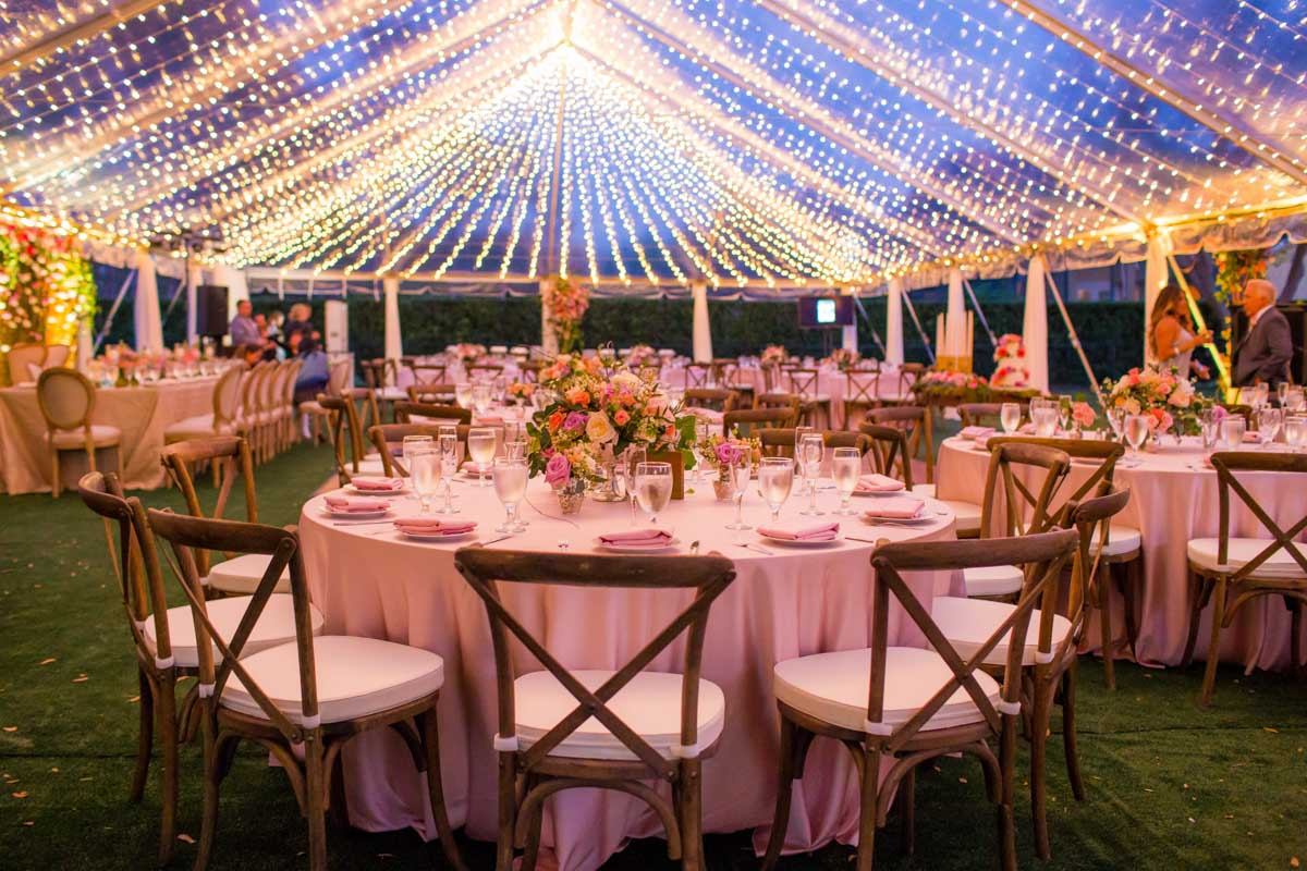 Venue at night with hanging lights