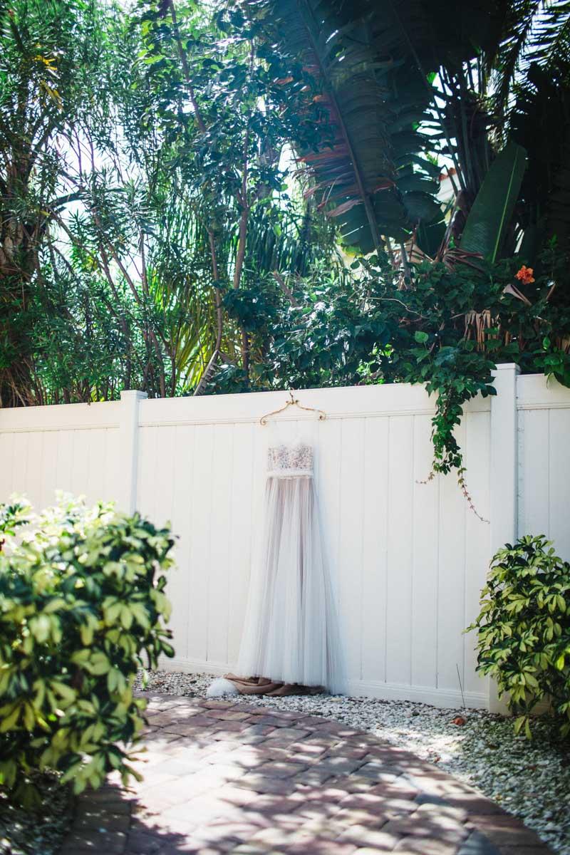 Wedding dress foliage