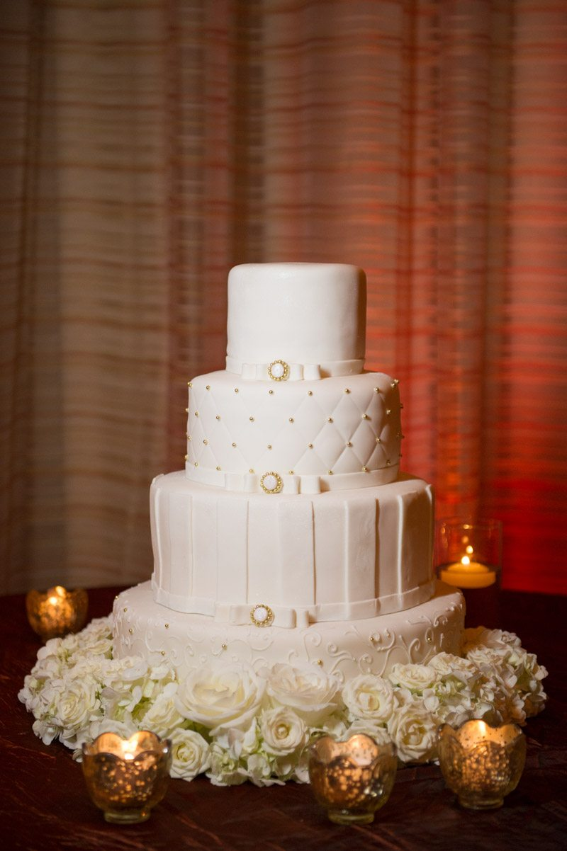 Whire and Gold Tiered Wedding Cake