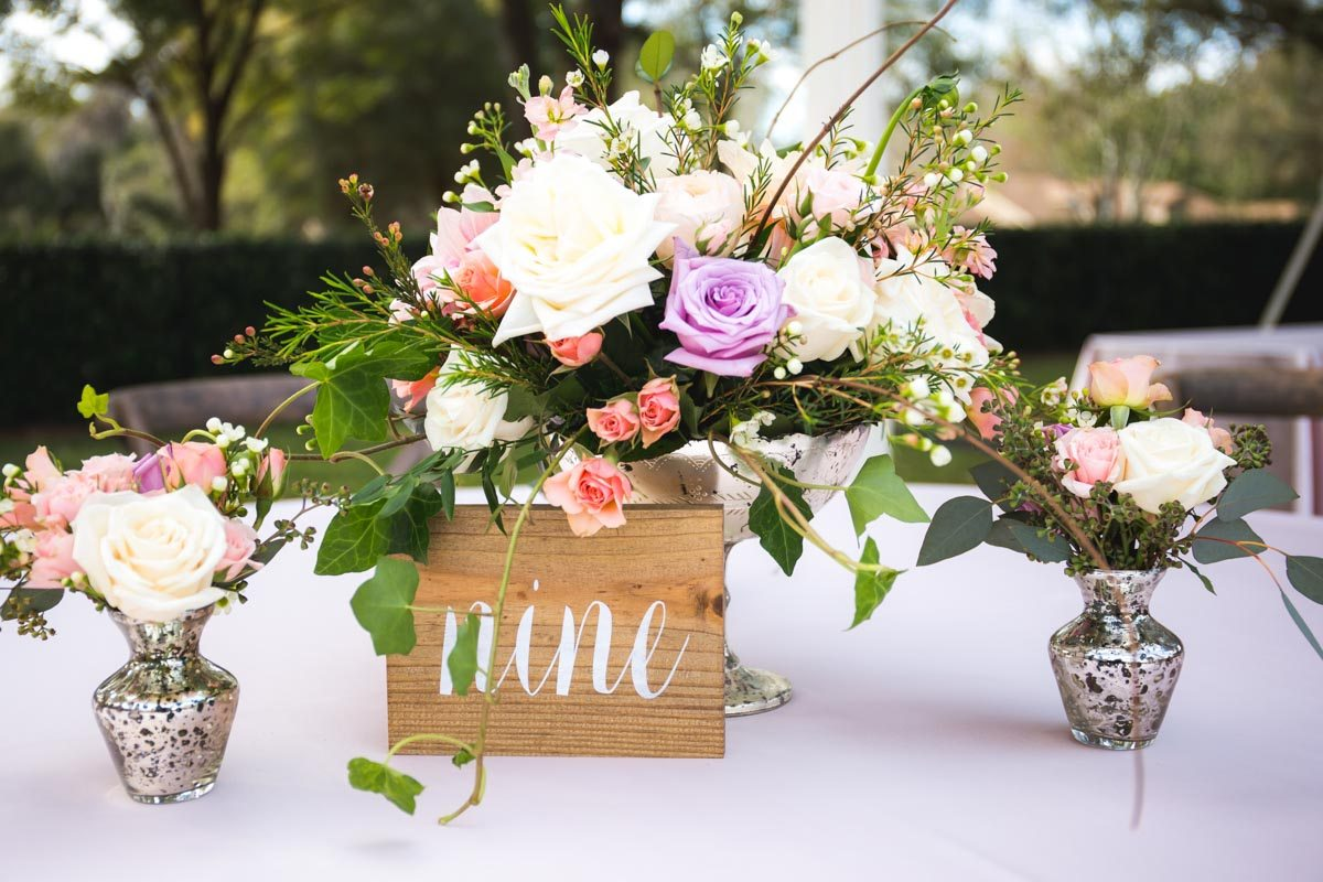 Wood Table Number With Pink Purple Flowers