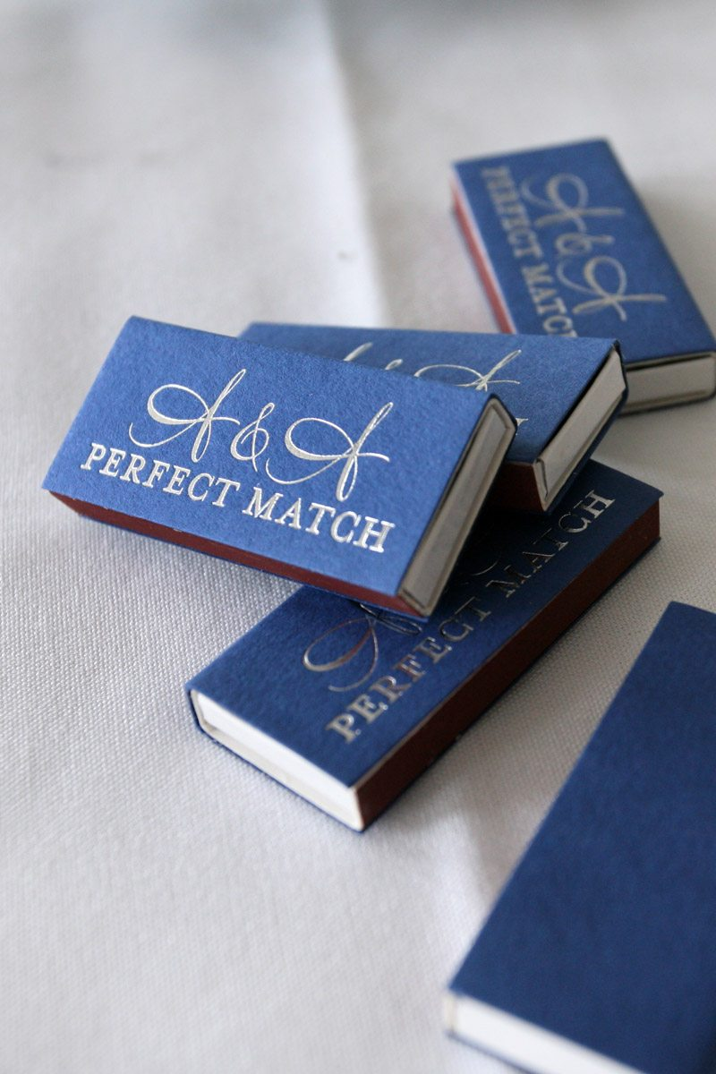 Blue perfect match matchboxes
