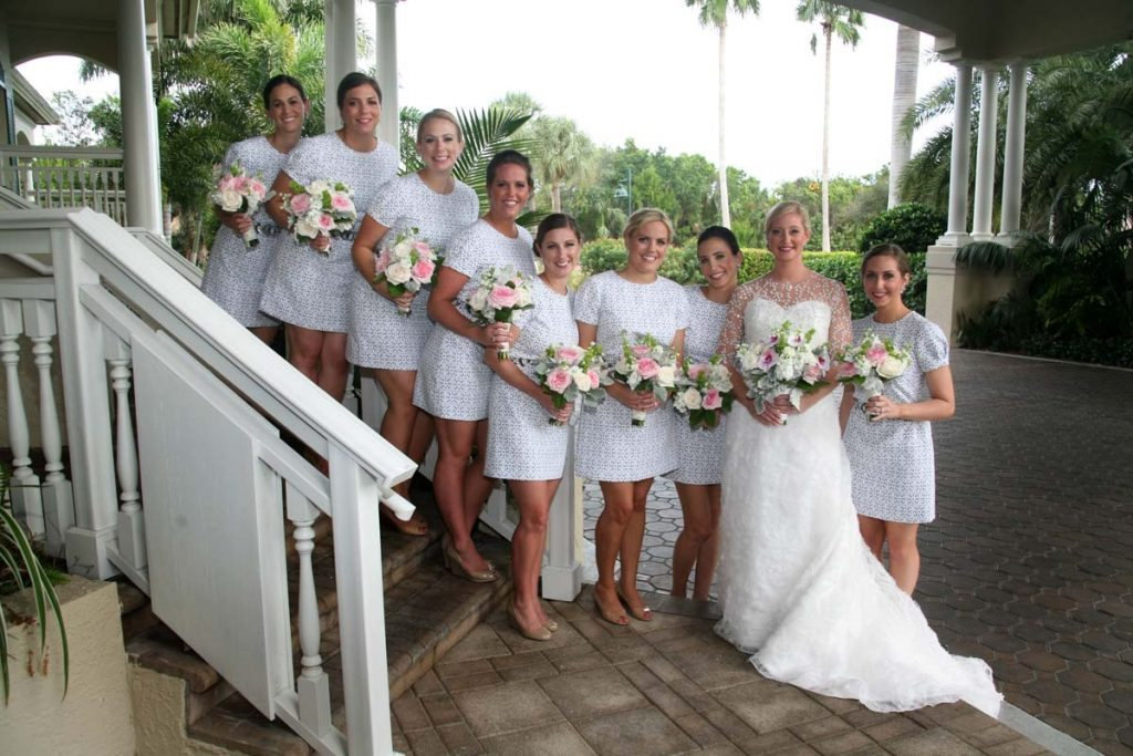 bride and bridesmaids in blue dress at santuary on sanibel