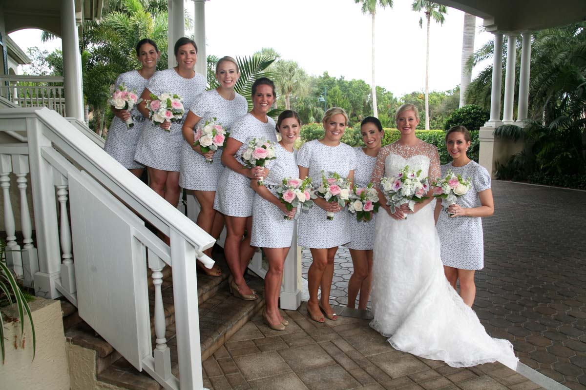 Bride with bridesmaids blue and white dresses
