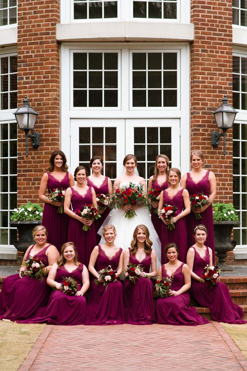 Bride with bridesmaids magenta dresses