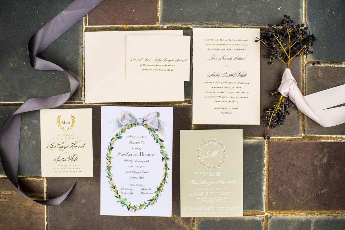 Cream, Green Invitations