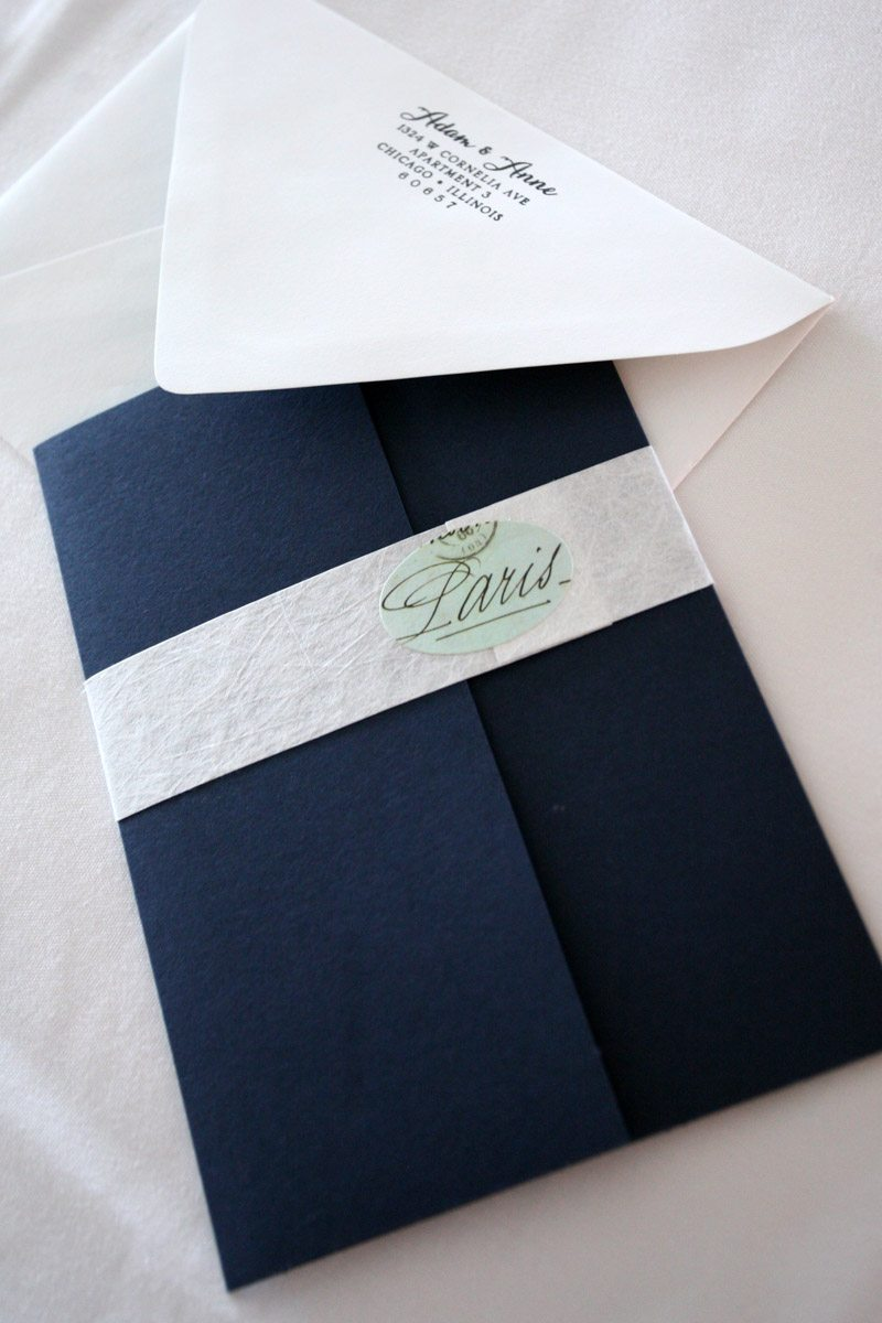 Deep blue and white invitation