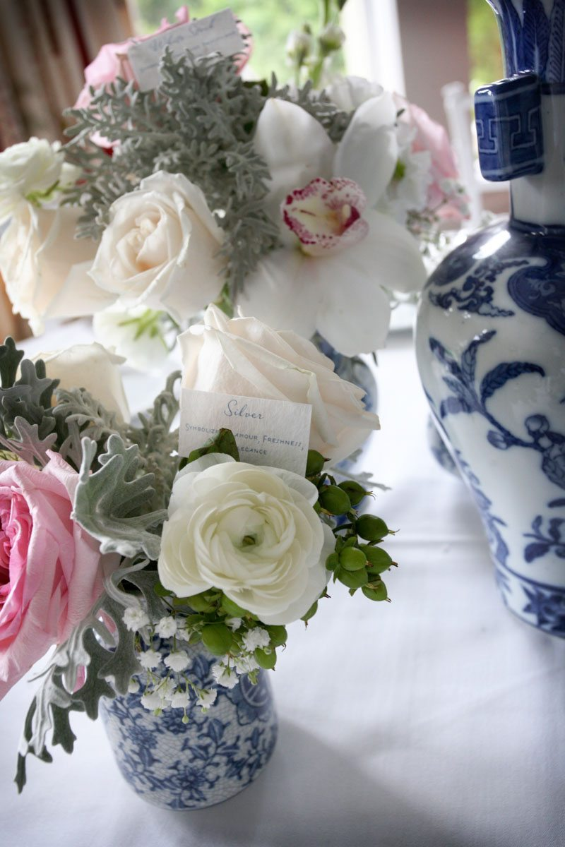 Floral centerpieces blue and white vase