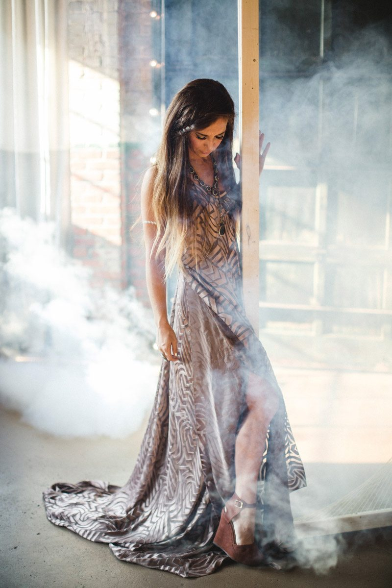 Maid of honor gold maxi dress in smokey warehouse