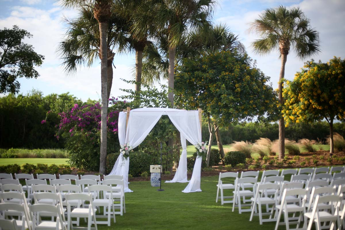 Outdoor ceremony white covering
