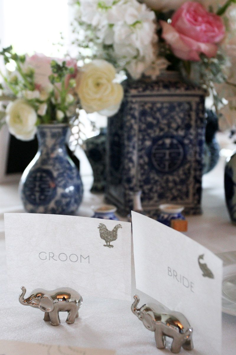 bride and groom seat placecard with silver elephants
