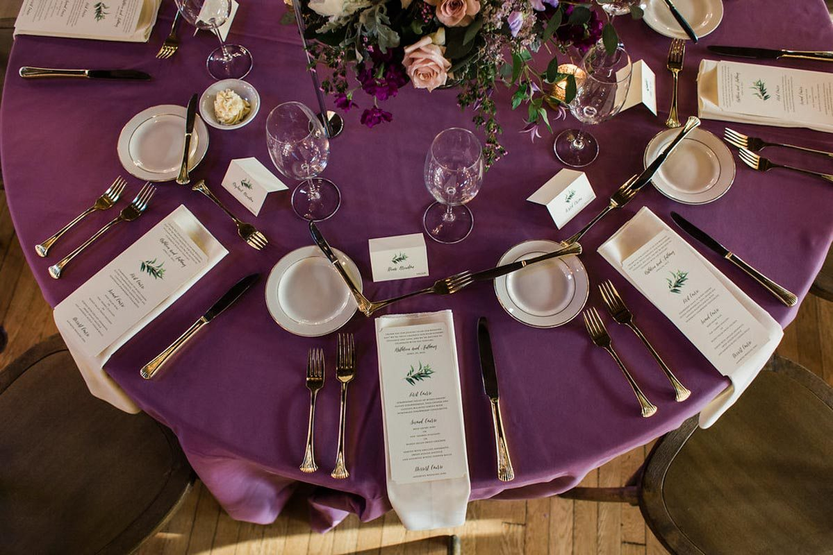 elegant garden inspired purple wedding decor table setting